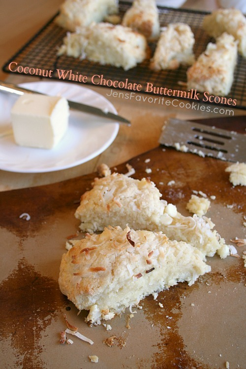 coconut white chocolate buttermilk scones click here for recipe