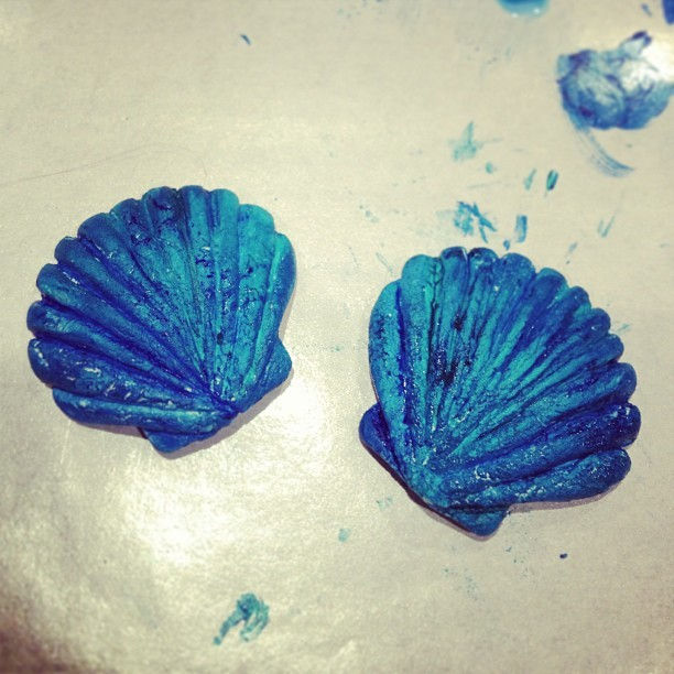 Made #seashell #pasties for my upcoming shoot with @maddame 😁 sculpted the #shells myself with paper clay. Still needs more painting, glitter, gems, and beads! ;) #art #craft #handmade