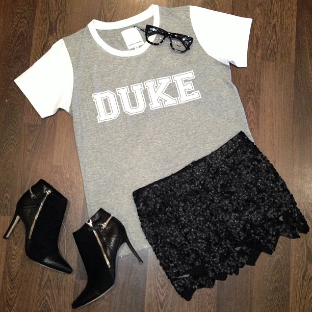 joyhysteric:  Easy Friday night outfit in @celeste_tesoriero duke tee (back in stock), @_aje_ sequin mini, @senso minty boots and @ksubi frames all from @joyhystericboutique // instore and online now 👓 (at www.thejoystores.com)