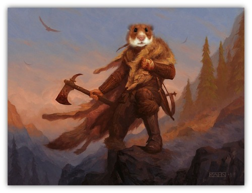 Magic: the Gathering - Critter Alts Original - Huntmaster of the Fells and Ravager of the Fells, Art by Chris Rahn Critter Alt - Hamster of the Fells and Rodent of the Fells, art by Hammy Hamster
