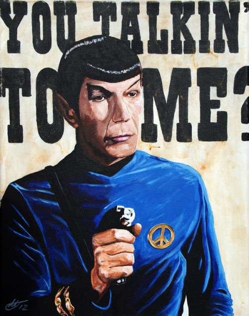 "xombiedirge:  Please Captain, Not in Front of the Klingons! by Tony Hodgkinson / Tumblr 16"" X 22"" Original painting on canvas, available HERE. Part of the Live Long and Prosper art show at Art V Cancer / Tumblr."