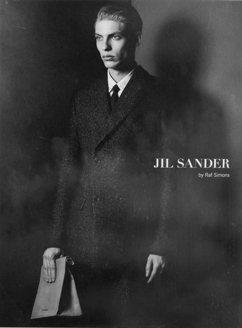 black-leather:  Baptiste Radufe for Jil Sander by Raf Simons  this picture is great, because how it somehow evokes the yesteryear atmosphere.