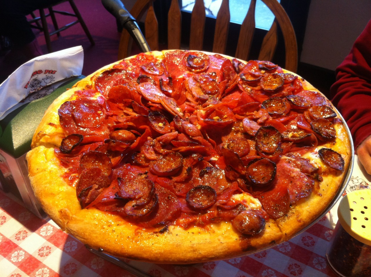 Now that's a pizza! And only 100 calories. Flying Pie…we thank you.