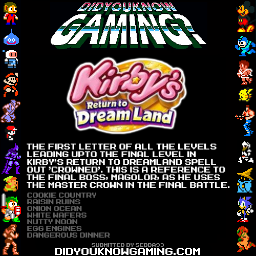 Kirby's Return to Dreamland.  http://wikirby.com/wiki/Kirby%27s_Return_to_Dream_Land#Levels