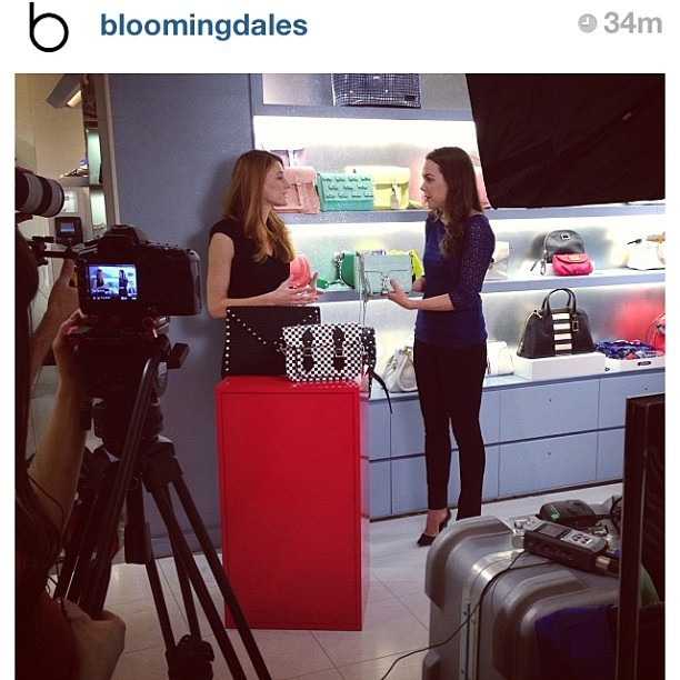 #Regram from @bloomingdales! Had so much fun shooting this morning with Brooke Jaffe. Stay tuned for a video on spring handbag trends!