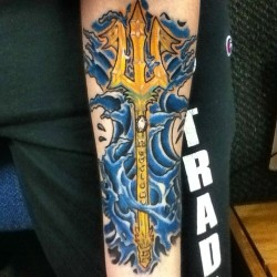 "fuckyeahtattoos:  My second tattoo, ""Poseidon's Trident"". Done by George ""Cruz"" Fuerte at 3rd Dimension Tattoos in De Pere, Wisconsin."