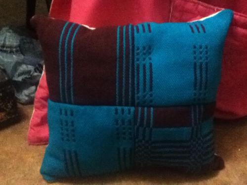 double weave samples made into a pillow. backed with muslin (cotton)