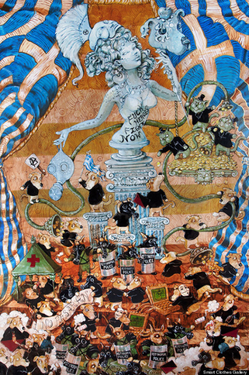 "mollycrabapple:  blusterousiris: Excerpt from my Huffington Post article  Activist/artist Molly Crabapple's new series of paintings titled ""Shell Game"" at Smart Clothes Gallery in New York portray a darkly humorous year in cartoonish figures. Her canvases tackle global turmoil in 2011, including the rise of Occupy Wall Street, Anonymous hackers, the health insurance crisis, the Tunisian Revolution, protests in Greece, and the Spanish M15 movement. While ""Shell Game"" bursts with depictions of corruption and violence, for Crabapple, the past few years have been a mix of birth amid destruction. ""Yes, it was awful, but it was also magic, she told Wired in an interview. ""It was the magic of people speaking to each other, waking up, helping each other. For every person beaten up, everyone arrested, it was also a year of fierce aliveness."" Like Hannah Hoch's politically-charged Dadaist collages or Frida Kahlo's symbolic works, in Crabapple's paintings a political message emerges from the visual chaos. As Occupy Wall Street unfolded right outside her window, Crabapple sketched posters for the movement in real time. ""Shell Game"" began as a Kickstarter project. It's worth noting that her paintings about the power of a united crowd would not have been possible without crowdsourcing. ""Shell Game"" will be on view April 14 - 23 at Smart Clothes Gallery in New York."