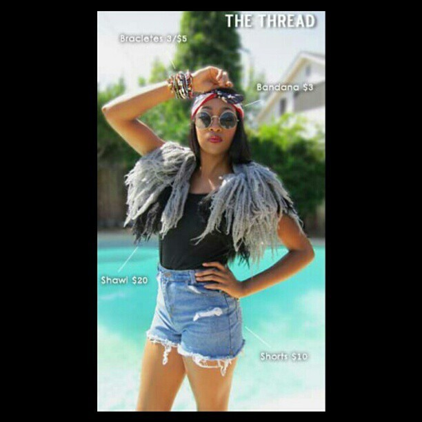 #photoshoot I did a couple of days ago for our boutique #theThread #Model : #synthiaSumlin @farronfarron #Hair : Me #Makeup :Me #stylist : me the shawl and the shorts were made by me and are for sell.