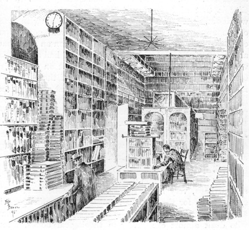 dasnachleben:  E. George's (late Gladding's) Shop, Whitechapel Road. From: W. Roberts, The Book-Hunter In London. Historical and other Studies of Collectors and Collecting, 1895.