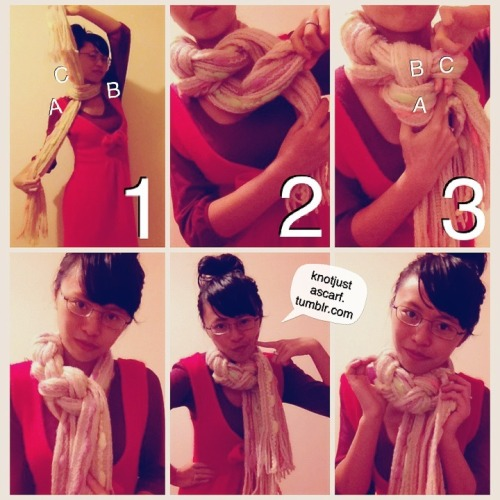 Scarf tying tutorial #68 is the scarf braid. It's super easy and works with both summery and wintery scarves. Excuse the Instagrammy tutorial. As you know, it's winter down here in the Southern Hemisphere and I'm afraid the lighting is pretty darn poor when it's pouring thunderstorms. The house's yellow tinged lighting isn't very helpful with making me look healthy either so I will be resorting to filters from time to time to at least make scarf tying look less…sallow skin inducing. Start off by tying the scarf around your neck to the side. Make sure both ends are even. You can use a chunky knit scarf like I did here or fold your silk scarf into a long strip if it's summer where you are (I am jealous). The two ends of the knot as well as the bit around your neck now will be the three bits we braid, shown in the image as A, B and C. Braid them just like you braid normally except where you would normally put C over either A or B you're going to move A or B under C because C doesn't have a free end and is stuck around your neck. You can braid all the way round like a choker, or leave the ends hanging loose like I did here.