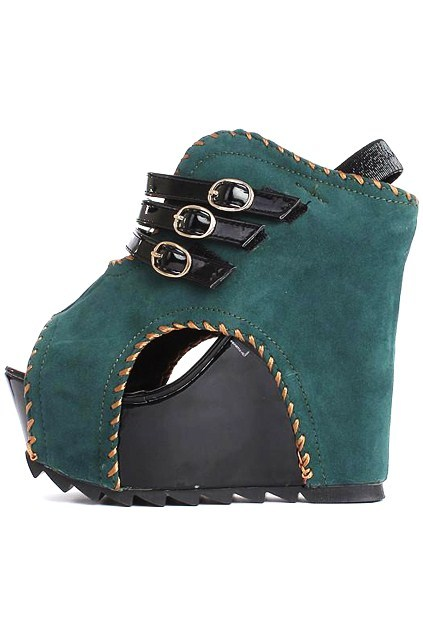 Zippered peep toe green boots