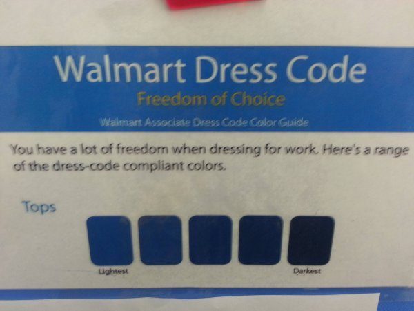 collegehumor:  Walmart Employee Dress Code Gives You Freedom of Choice! It's what our forefathers fought for.