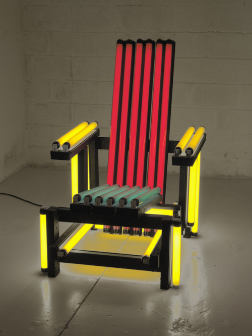 Electric Rietveld Chair by Light Artist Ivan Navarro