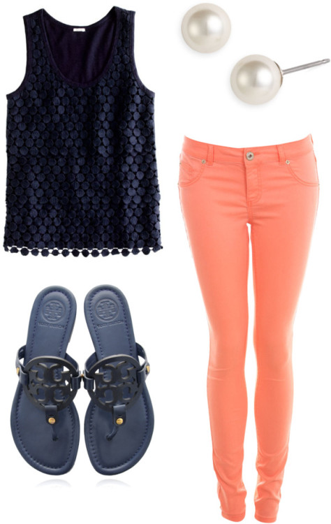 navy and orange by sarahrh4 featuring leather flip flops