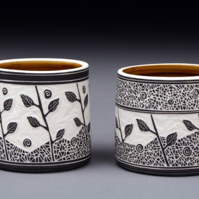 theantidote:  Becky & Steve Lloyd Sgraffito cups 2.5 inches in height