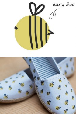 truebluemeandyou:  DIY Cheap and Easy Bumblebee Espadrilles Tutorial from Clones N Clowns here. Seriously, all the supplies can be bought at The Dollar Store (no fabric paint to buy).