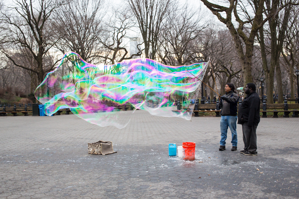 These guys were making big fat bubbles in the middle of Central Park