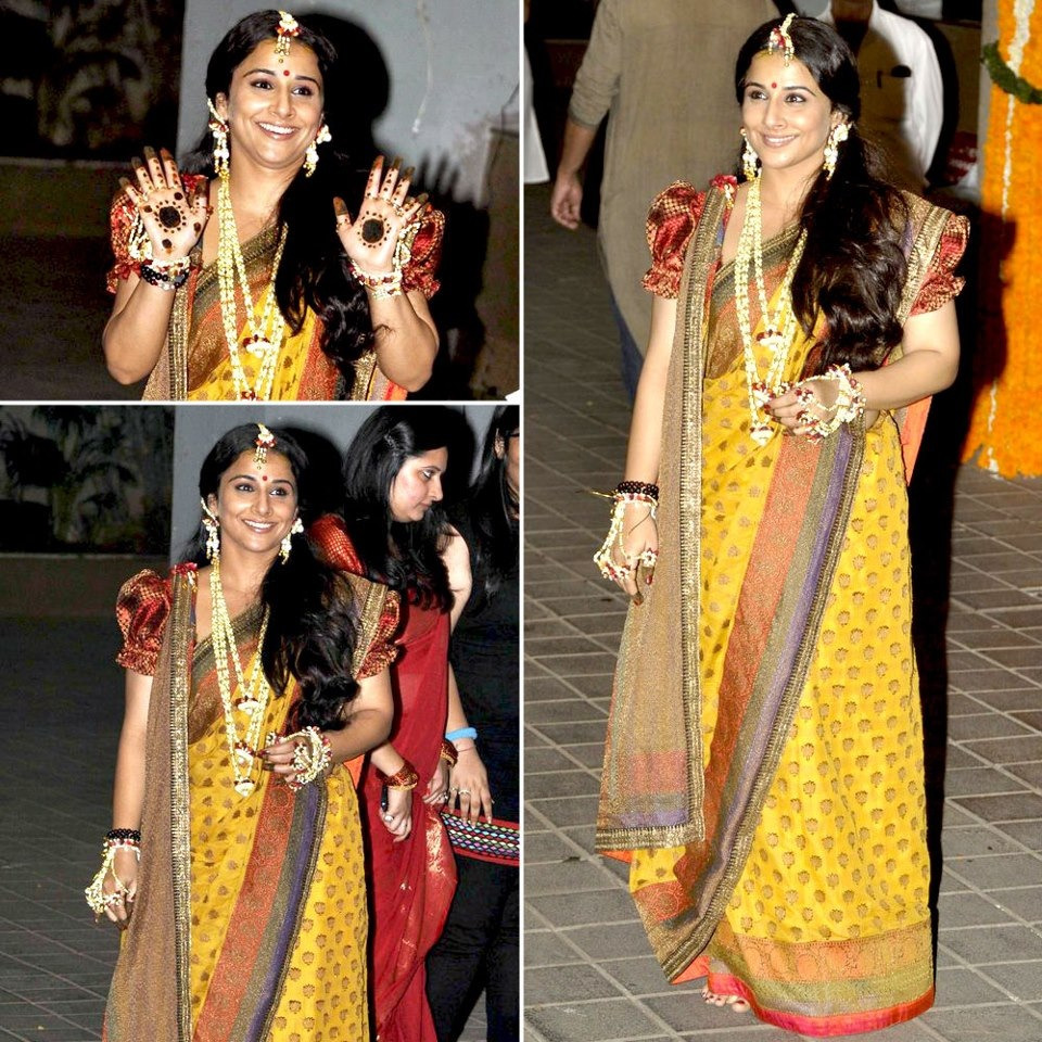 Vidya Balan at her Mehndi in a Sabyasachi sari. What I love about Vidya is she has a classic sari style and keeps her look consistent. I do wish she had gotten more Mehndi though! Image from vogue.in