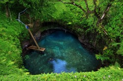illusionwanderer:  Sua Trench, Samoa  An exposed cavity in the limestone here in Samoa has been turned into a popular swimming hole. Photo by Daniel Gong