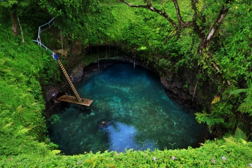 illusionwanderer:  Sua Trench, Samoa An exposed cavity in the limestone here in Samoa has been turned into a popular swimming hole.Photo by Daniel Gong