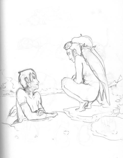 bird lady and mermaid boy chillin and talkin. apologies for bad quality, i was trying to pump up the lines since i draw lightly sometimes… nsfw for the naked lady??