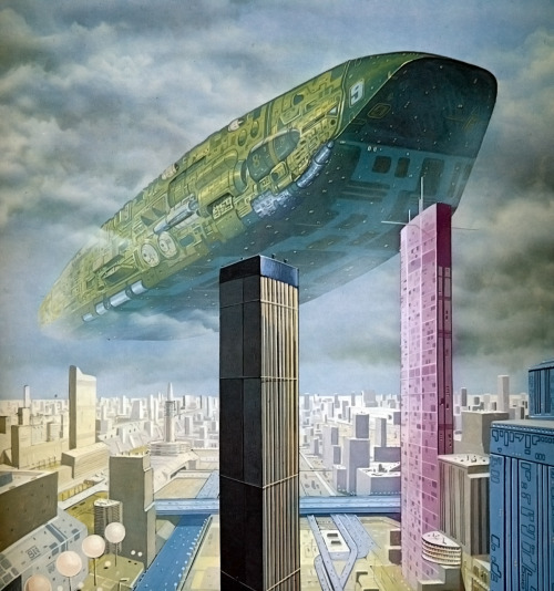 Untitled painting by Angus McKie from Harry Harrison's book 'Mechanismo' (1978)