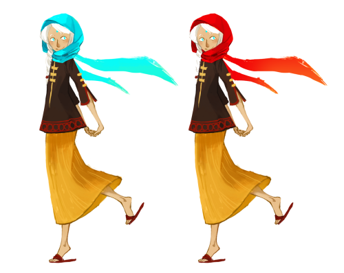 Decided I wanted to rework Triss' design a bit. Debating scarf color for a possible story reason (nothing particularly exciting), and still getting the hang of this sketchy coloring style!