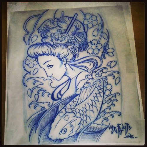 #Tattoo or the Day. #asianart #halfsleeve all #linework #sketcklayout #TATTOOS #firsttattoo #geishatattoo #geisha #koitattoo #koifish #cherryblossoms #fingerwaves #putabirdonit #nestegg #Drawing #MORELIKES