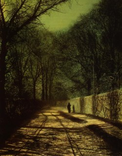 auspiciousplatypus:  John Atkinson Grimshaw - Tree Shadows on the Park Wall, Roundhay Park, Leeds (1872)