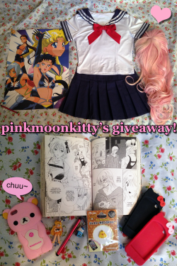 pinkmoonkitty:  ✿pinkmoonkitty's 1.5k followers giveaway✿ One follower will win these items:- cosplay seifuku top+skirt size small- pink+blonde cosplay wig w/ nude wig cap- sailor moon sailor stars poster- pink rilakkuma iphone 5 case- 2x hello kitty ipod touch 4th gen case- rilakkuma kiiroitori 3d home button sticker- mini stylus with hello kitty charm- sailor venus keychain- volume 1 princess ai manga Rules:- must be following me: pinkmoonkitty- reblogs only, likes don't count (but feel free to like the post)- you can reblog more than once, but please don't annoy your followers- please don't delete text on this post- no fake/giveaway/side blogs, etc- must be 18+ or have permission to give me your address- have your ask open so I can contact you I will pay the shipping & I don't mind shipping worldwide. If this doesn't get around 500+ notes I will probably cancel or postpone. Winner will be chosen via random number generator. Giveaway will end July 30th and the winner will have 48hr to reply or I will randomly have another winner chosen. Send me an ask if you have any questions or whatevs. Goodluck xoxo