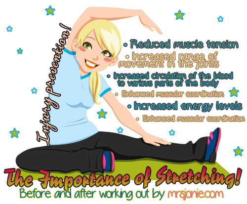 fitforinfinity:  mrsjonie:   By adding stretches that focus on all major muscle groups before you exercise, you will get more out of your workout and decrease muscular soreness afterward. Don't let it out of your routine.   and remember: dynamic stretches before, static stretches after!