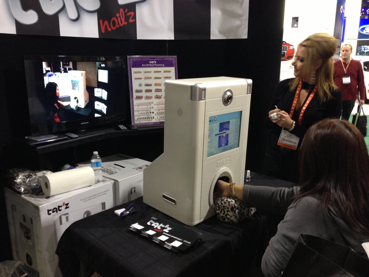 Thing we saw at CES, a printer that directly prints photos onto your nails. Just hold still for a sec, kay?