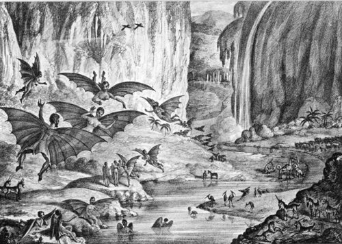 "metalonmetalblog:  ""The Great Moon Hoax"" refers to a series of six articles that were published in the New York Sun beginning on August 25, 1835, about the supposed discovery of life and even civilization on the Moon. The discoveries were falsely attributed to Sir John Herschel, perhaps the best-known astronomer of his time."