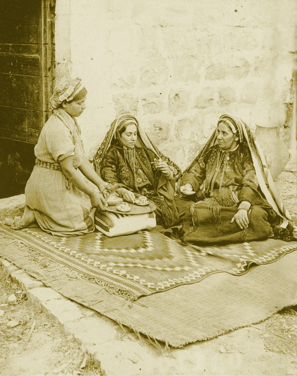 Serving coffee, Ramallah, circa 1890s