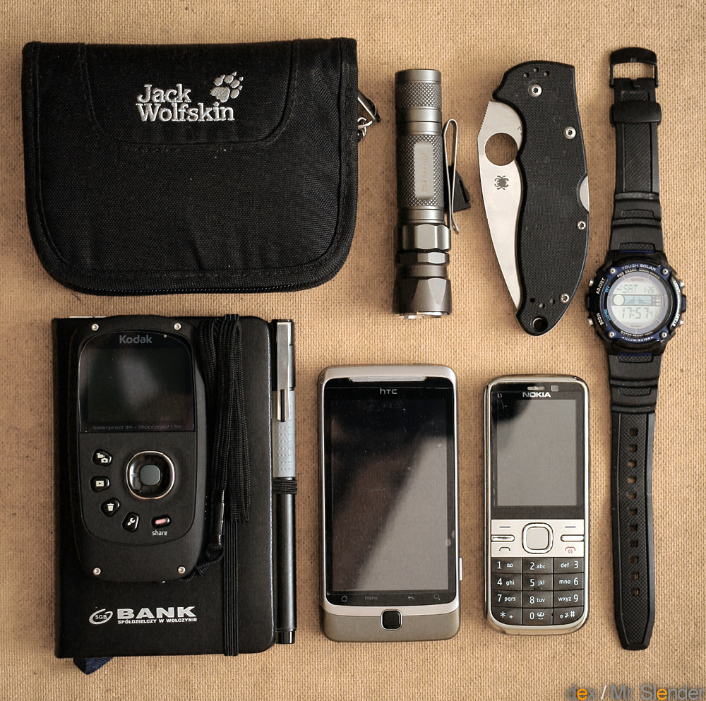 EDC Submitted By: Mr. Slender  My current EDC:  Jack Wolfskin First Class Wallet Kodak ZX5 Playsport - HD Camcorder - Purchase on Amazon JETbeam Jet-1 PRO v.3 flashlight - Purchase on Amazon Spyderco Mini Manix 83mm s30v folder - Purchase on Amazon HTC Desire Z - Purchase on Amazon Nokia C5-00 - Purchase on Amazon Casio W-S210H Solar - Purchase on Amazon