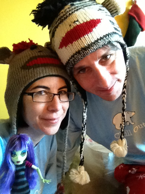 Sylvia got us matching monkey hats!