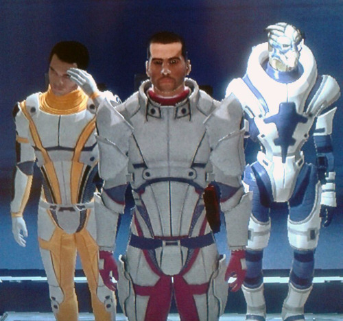 Oh look, Garrus joined the club! They look like a little group of Power Rangers!I don't think Kaidan is that happy.