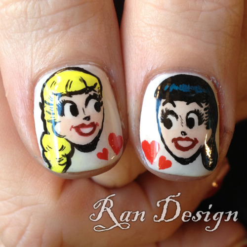 Manicure Monday: Betty & Veronica nail art, by nailsbyran