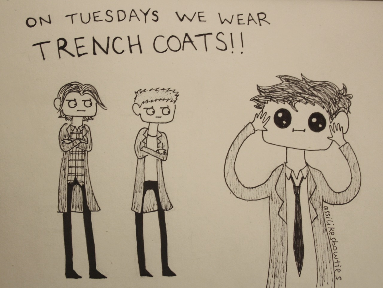 assilikesbowties:  Supernatural letters» Trench Coat (+Tuesday)