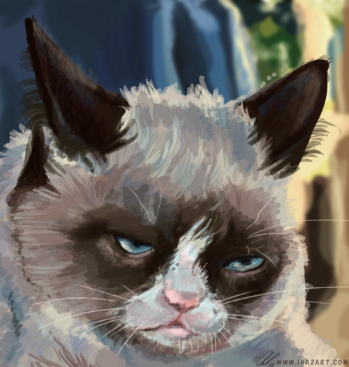 An hour speedpaint before I start to cook dinner, of the fabulous Grumpy Cat! Check out the original photo: http://www.grumpycats.com/a-few-photos-for-this-evening-and-an-article-by-connor-rickett/