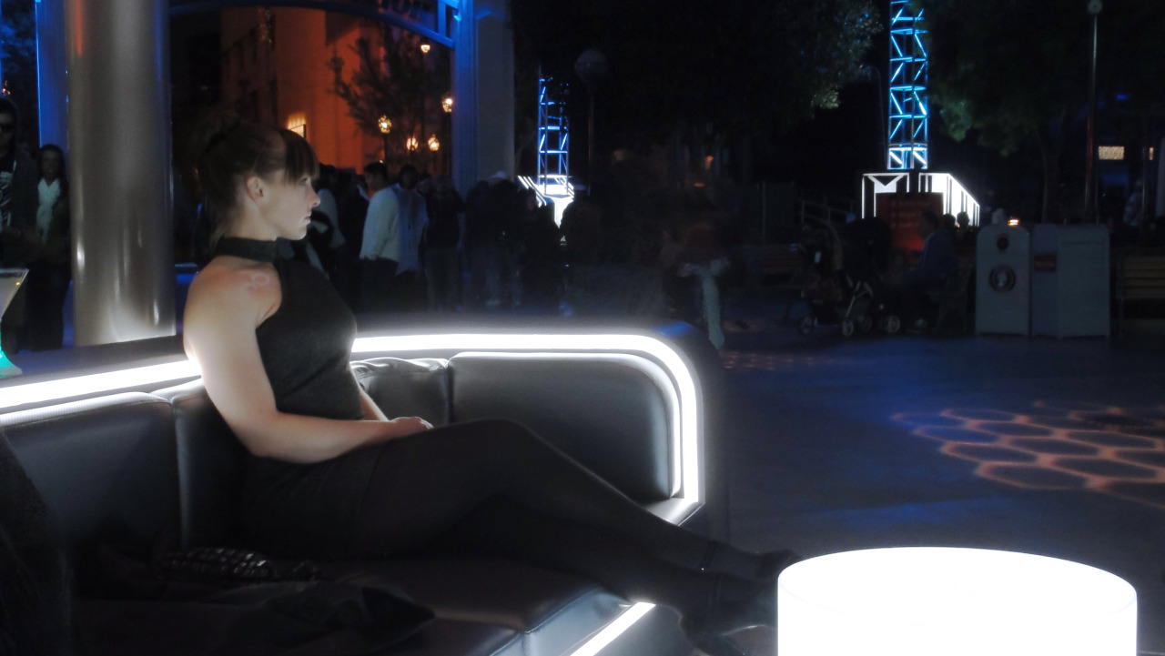 Girl sitting at the former ElecTRONica bar at Disney's California Adventure <apr 2012>