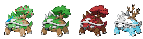 pokemons-forever:  scythe-splicing:  as blinding-eclips requested, Torterra with seasons like sawsbuck  THIS IS AWESOME.