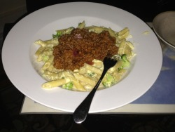 A mix of 2 dishes - classic Bolognese and Carbonara, with wee bit of spice kick.