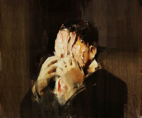 "thinnerlighterfreer:  Adrian Ghenie - ""Pie Fight Study 2"", 2008, oil on canvas, 55 X 59 cm"