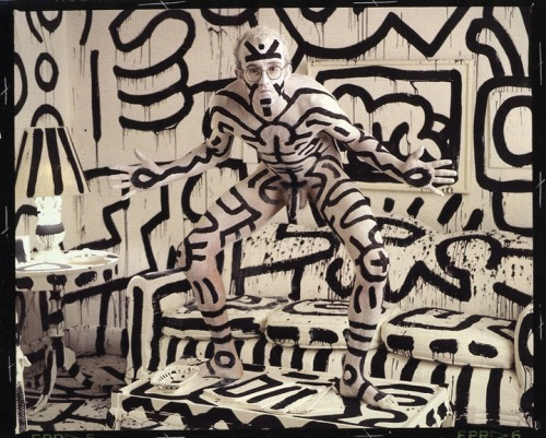 Keith Haring photographed by Annie Leibowitz for Vanity Fair, 1987.