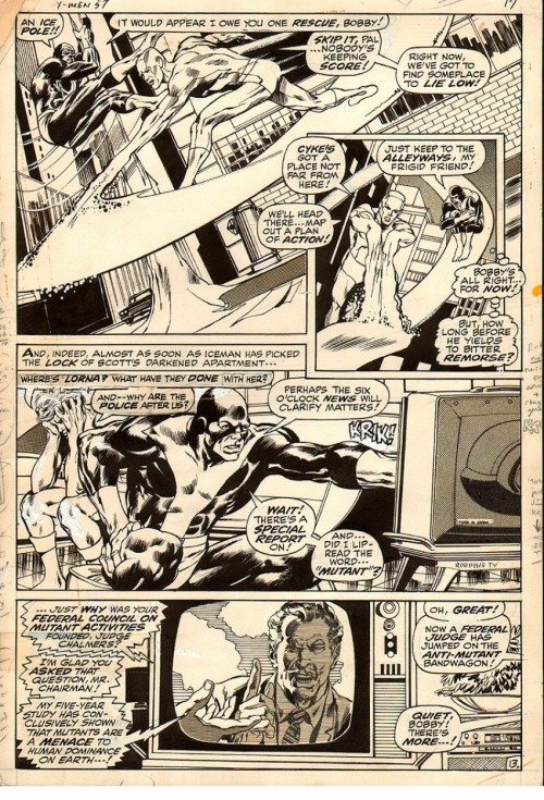 A page from X-MEN #57 by Neal Adams and Tom Palmer.