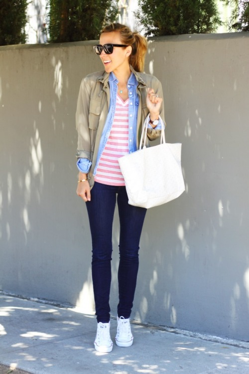 tallgirltales:  Cute & casual spring outfit from Damsel in Dior. Old Navy tee, J.Crew chambray, Converse sneakers, Club Monaco jacket, Stella & Dot necklace.   This is a good look