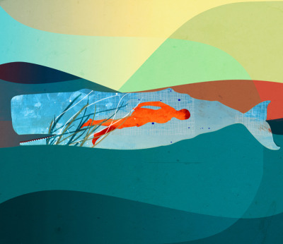 In the water under the sea. Illustration. Prints available on Society6 & RedBubble.