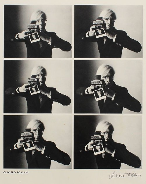 superseventies:  Andy Warhol with a Polaroid camera by Oiviero Toscani, 1974.